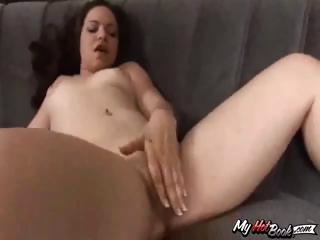 Horny youthful brunette, Leenuh Rae, takes this large darksome dick in her mouth and pussy