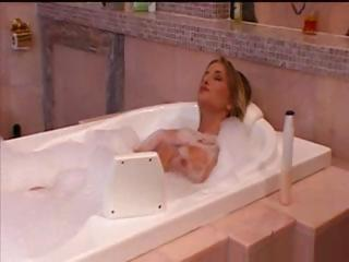 Blonde Sarah takes a bath and gets clothed to go out and fuck
