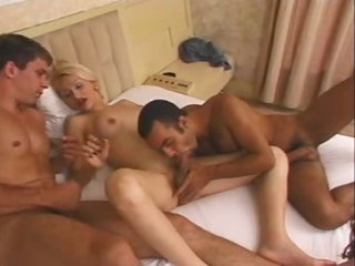 Blonde with perky tits and two men